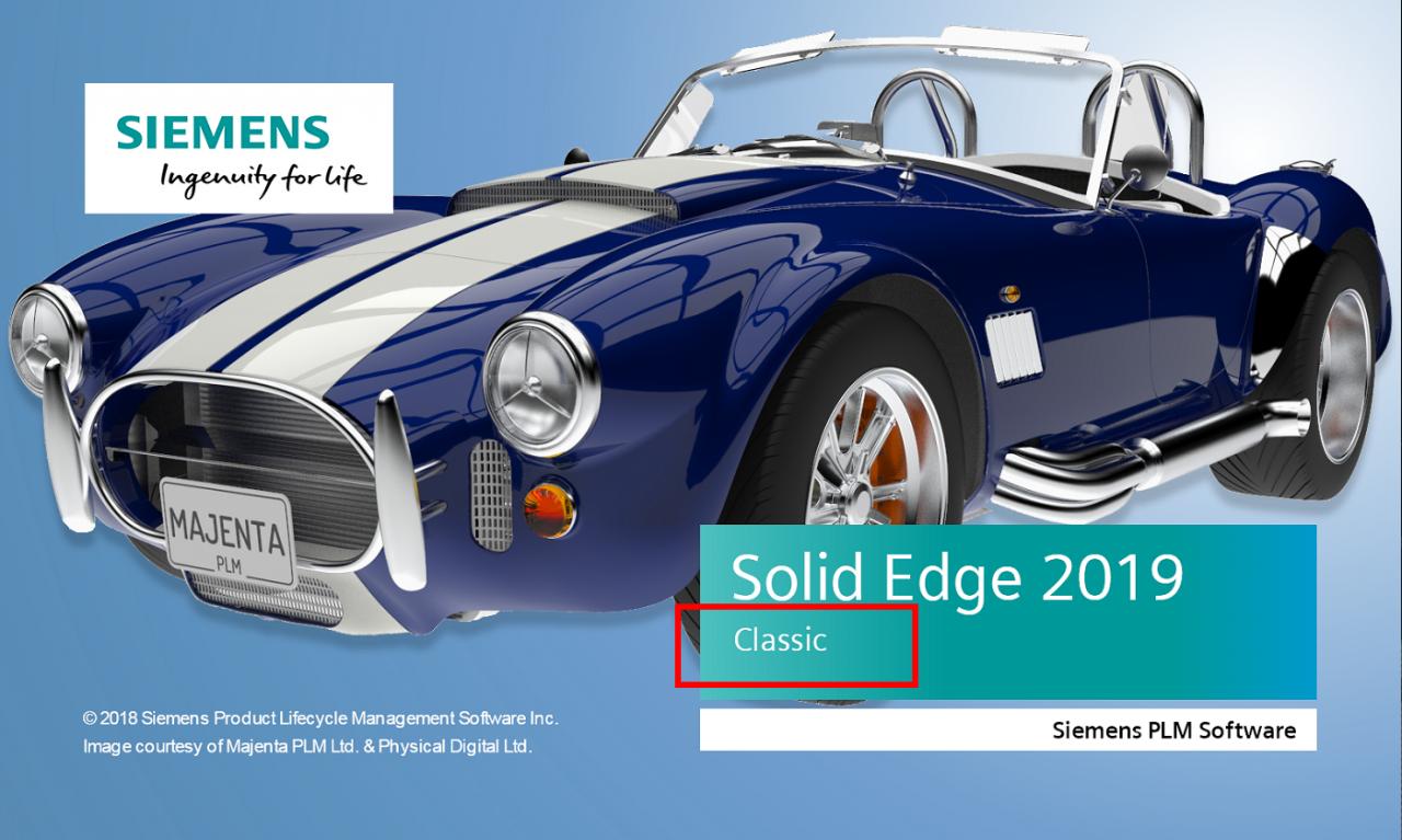 Wersja konfiguracji Solid Edge na ekranie startowym