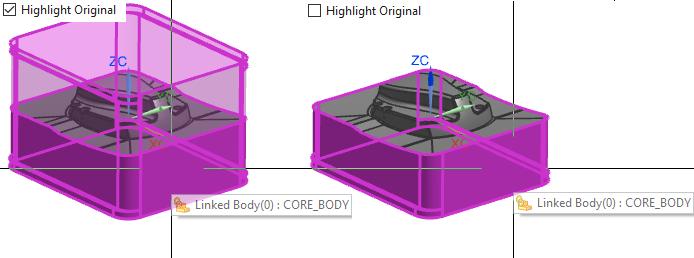 NX - wyświetlanie obiektu po zaznaczeniu kursorem
